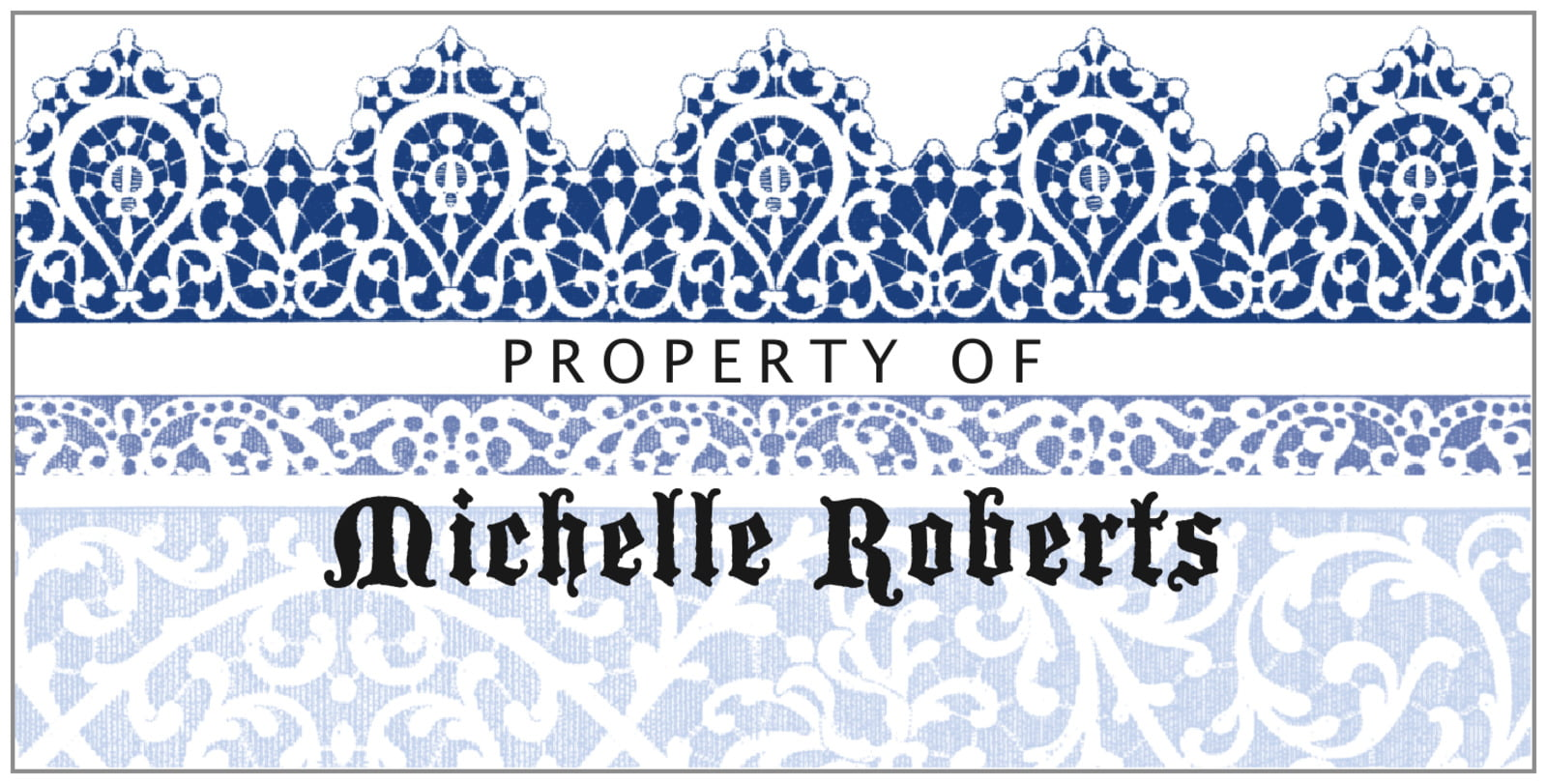 bookplates for everyone - deep blue - lace (set of 24)