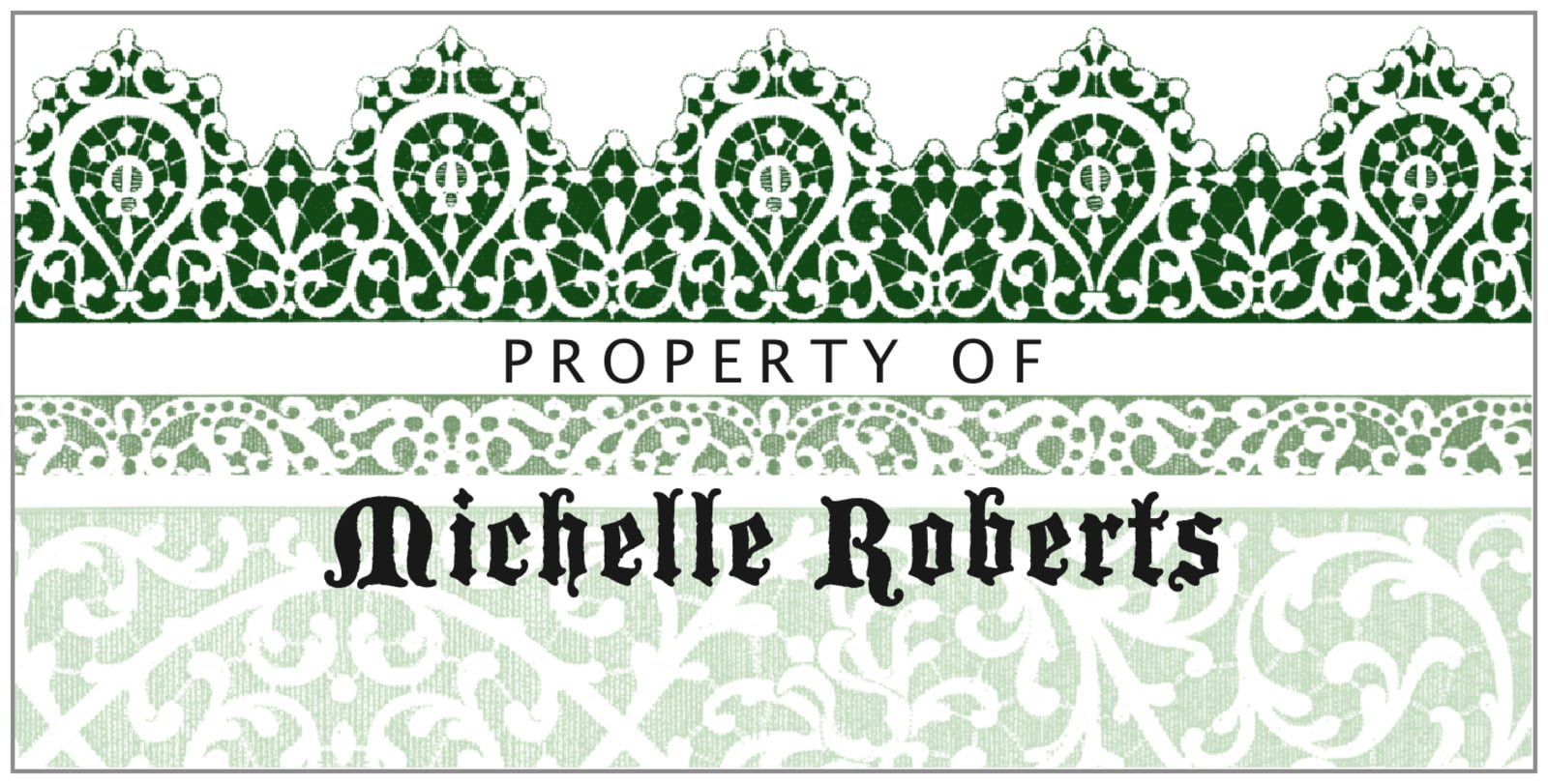 bookplates for everyone - deep green - lace (set of 24)
