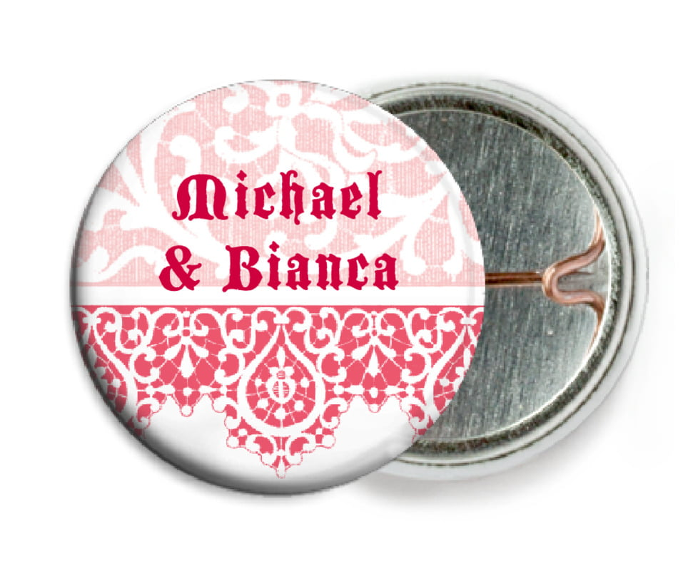 custom pin back buttons - grapefruit - lace (set of 6)