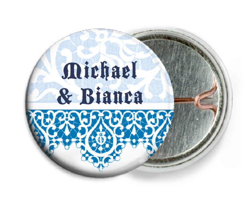 custom pin back buttons - blue - lace (set of 6)