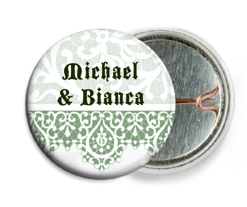 custom pin back buttons - sage - lace (set of 6)