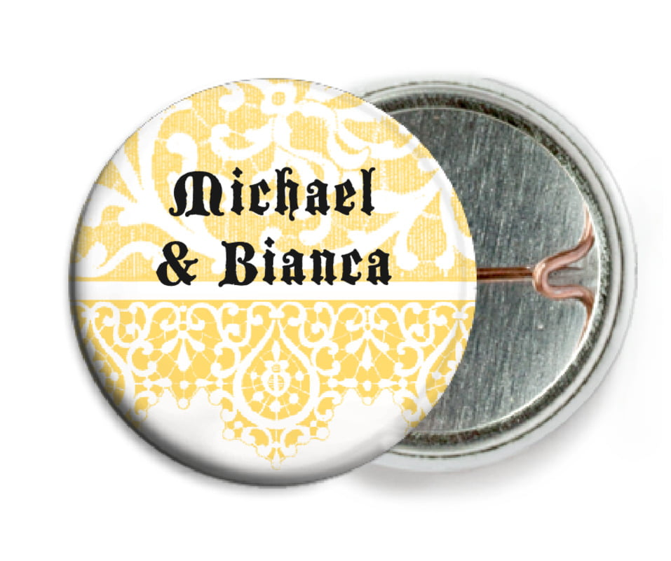 custom pin back buttons - sunburst - lace (set of 6)