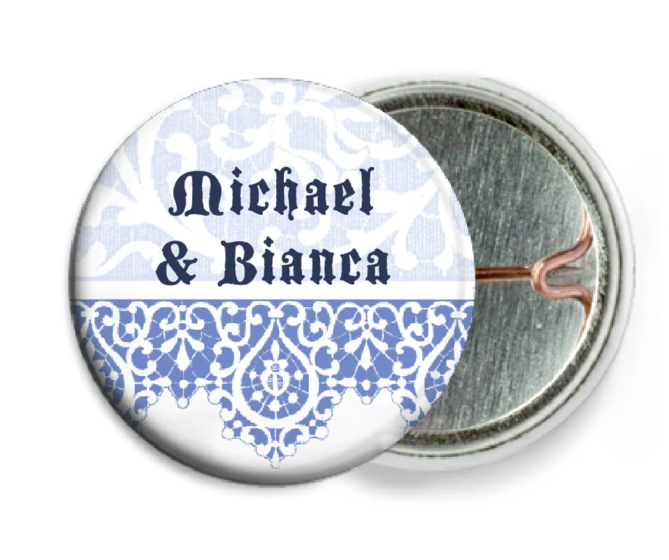 custom pin back buttons - periwinkle - lace (set of 6)