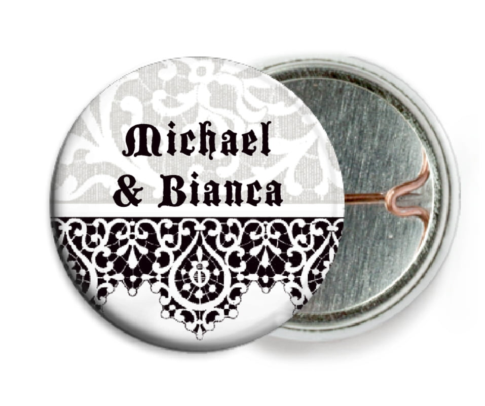 custom pin back buttons - tuxedo - lace (set of 6)