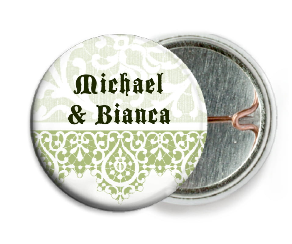 custom pin back buttons - green tea - lace (set of 6)