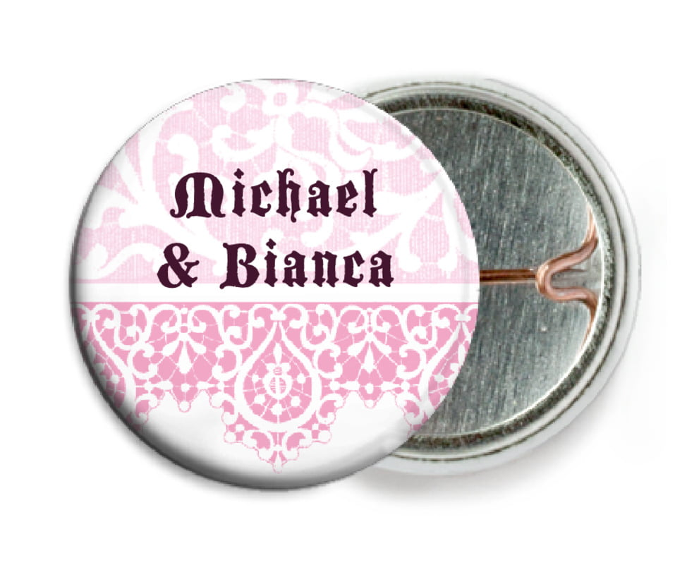 custom pin back buttons - pale pink - lace (set of 6)