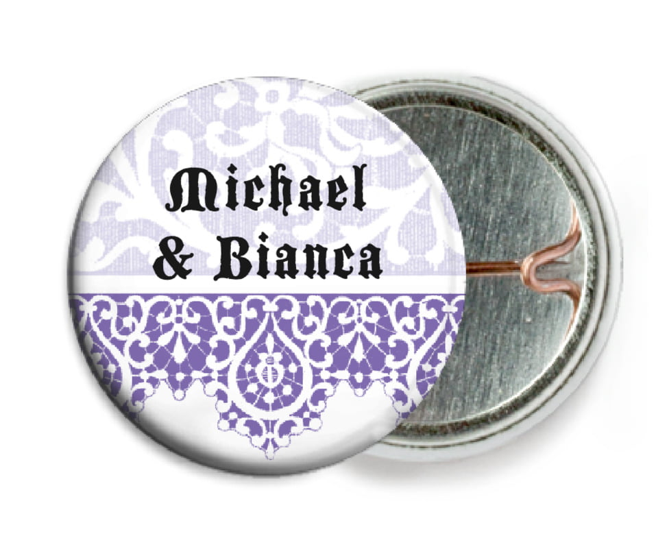 custom pin back buttons - lilac - lace (set of 6)