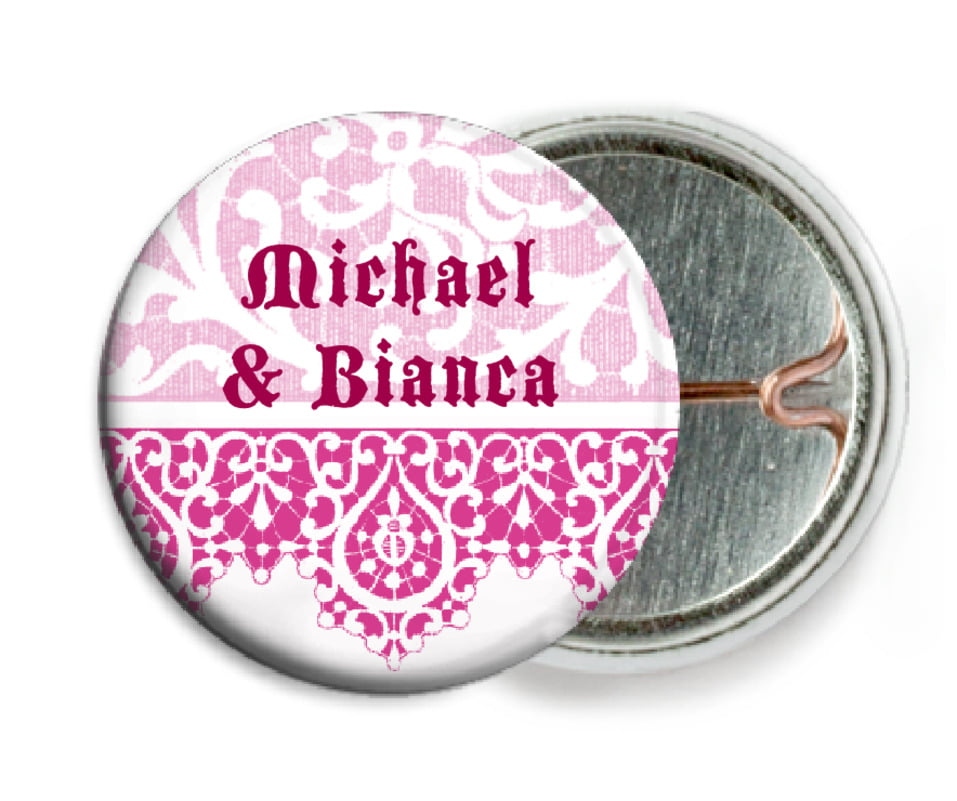 custom pin back buttons - bright pink - lace (set of 6)