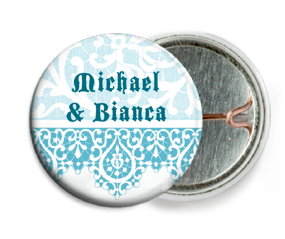 custom pin back buttons - bahama blue - lace (set of 6)