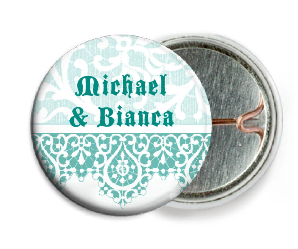 custom pin back buttons - aruba - lace (set of 6)