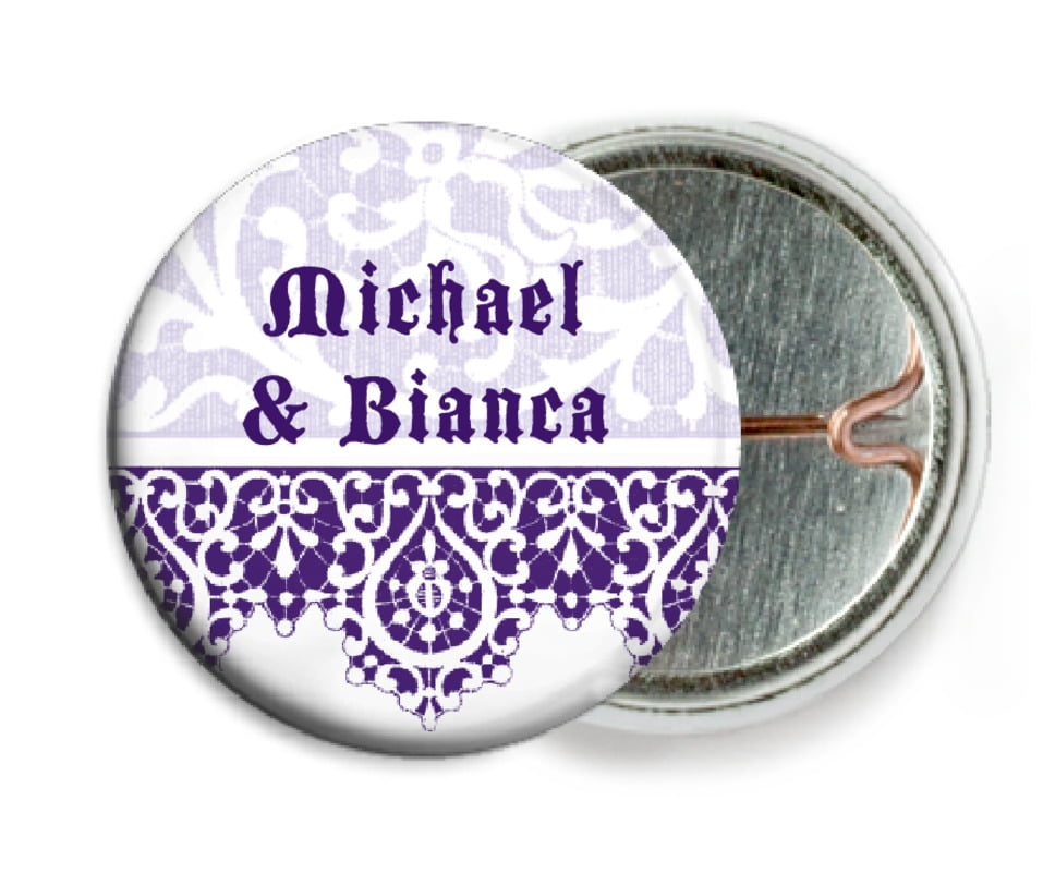 custom pin back buttons - plum - lace (set of 6)