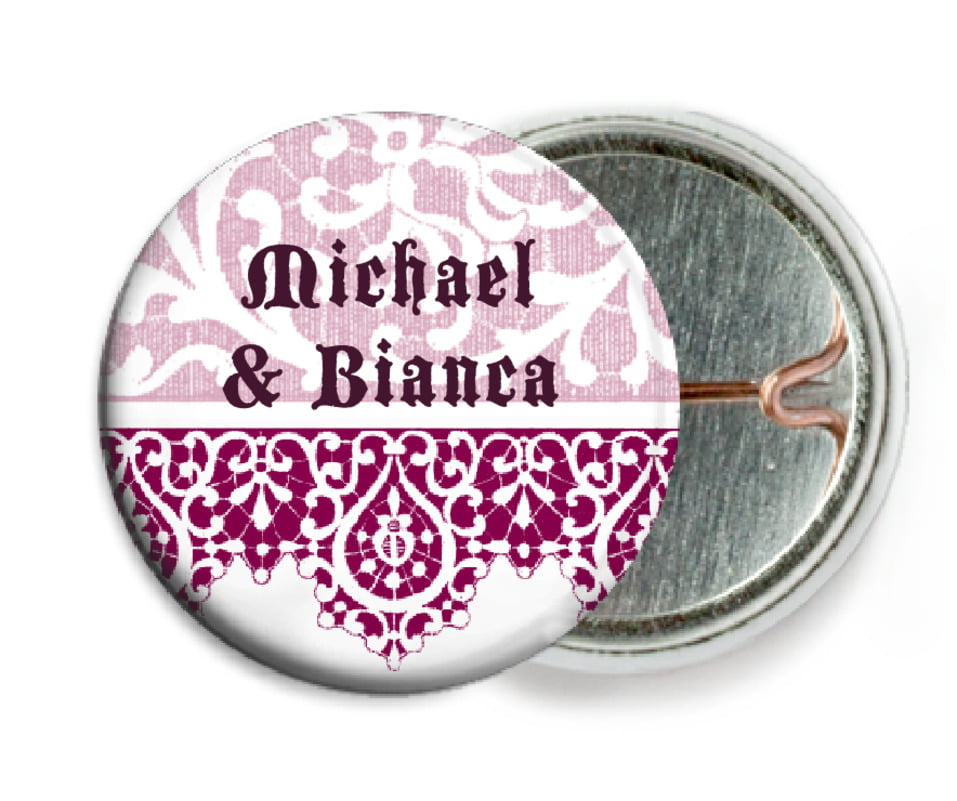 custom pin back buttons - burgundy - lace (set of 6)