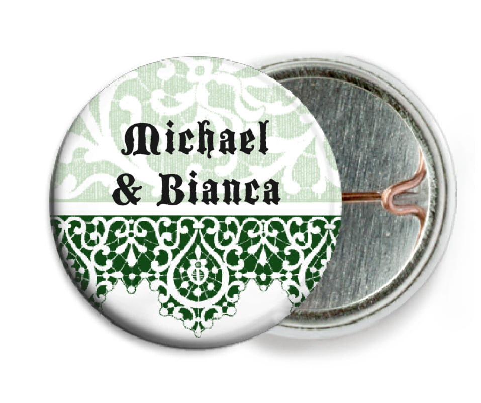 custom pin back buttons - deep green - lace (set of 6)