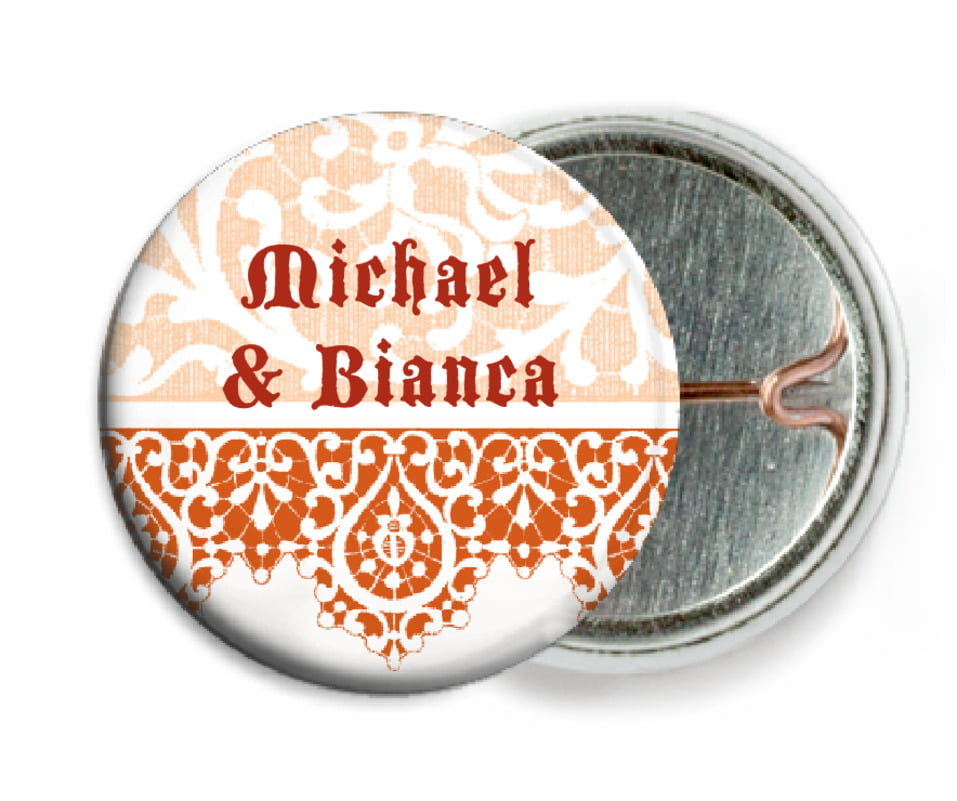 custom pin back buttons - spice - lace (set of 6)