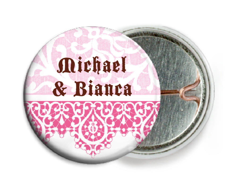 custom pin back buttons - cocoa & pink - lace (set of 6)
