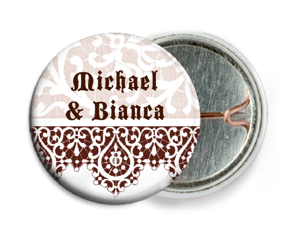 custom pin back buttons - chocolate - lace (set of 6)