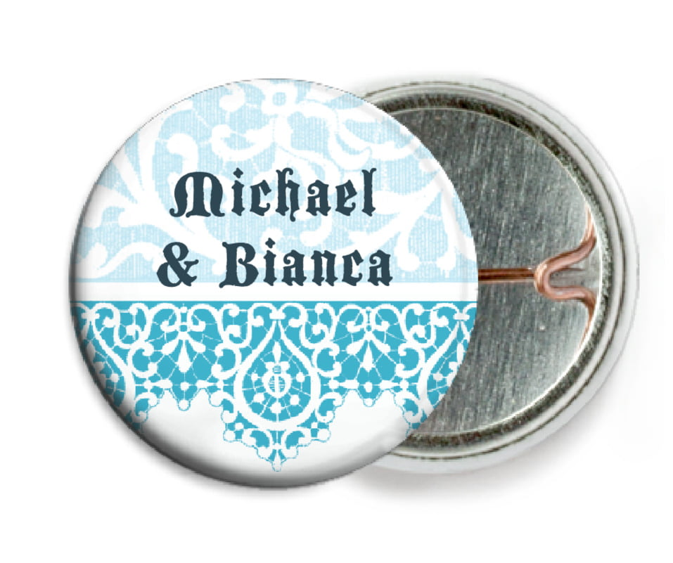 custom pin back buttons - sky - lace (set of 6)
