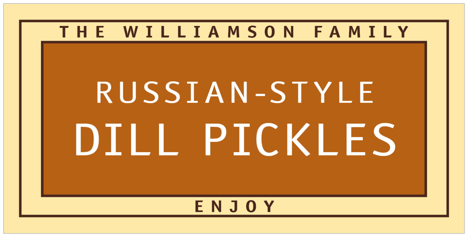 small rectangular food/craft labels - saddle brown - library (set of 24)