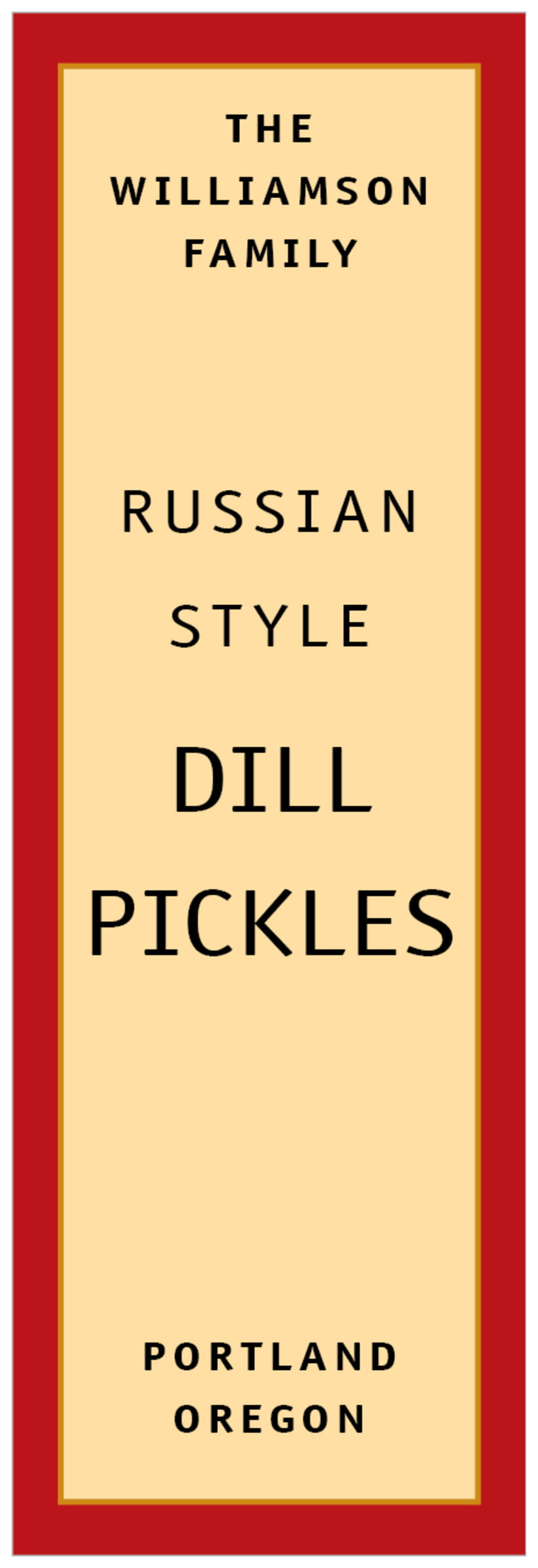 tall food/craft labels - red & gold - library (set of 14)
