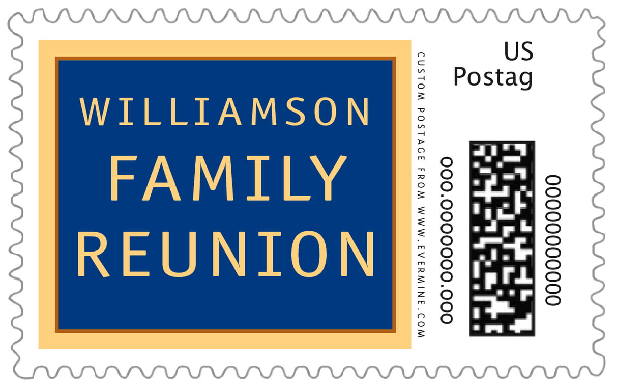 custom large postage stamps - blue - library (set of 20)