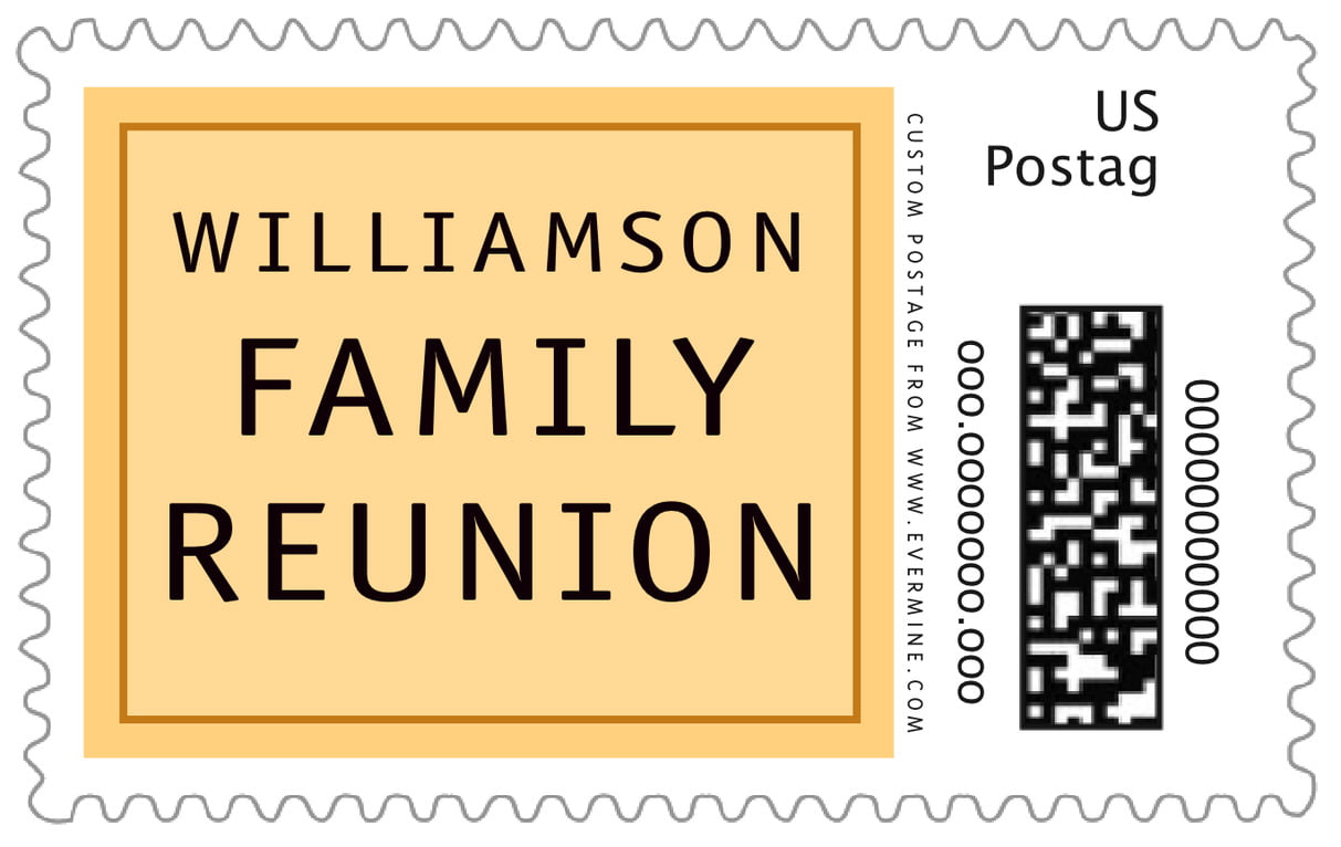 custom large postage stamps - red & gold - library (set of 20)