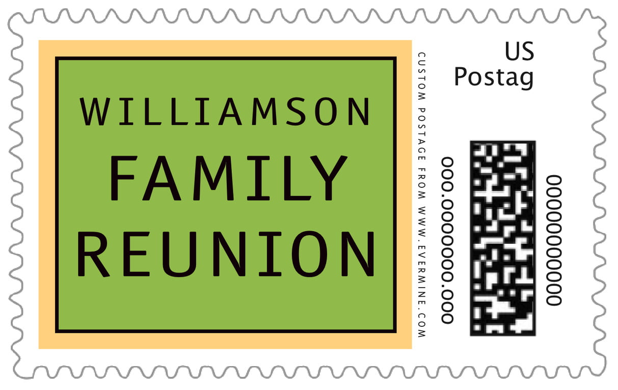 custom large postage stamps - lime & gold - library (set of 20)
