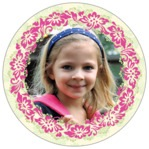 Leilani Circle Photo Label In Pink & Island Green