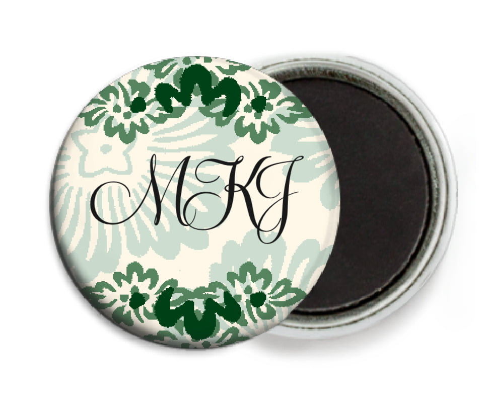 custom button magnets - deep green - leilani (set of 6)