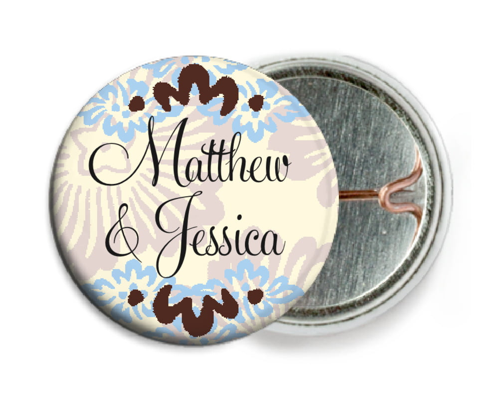 custom pin back buttons - powder blue & cocoa - leilani (set of 6)