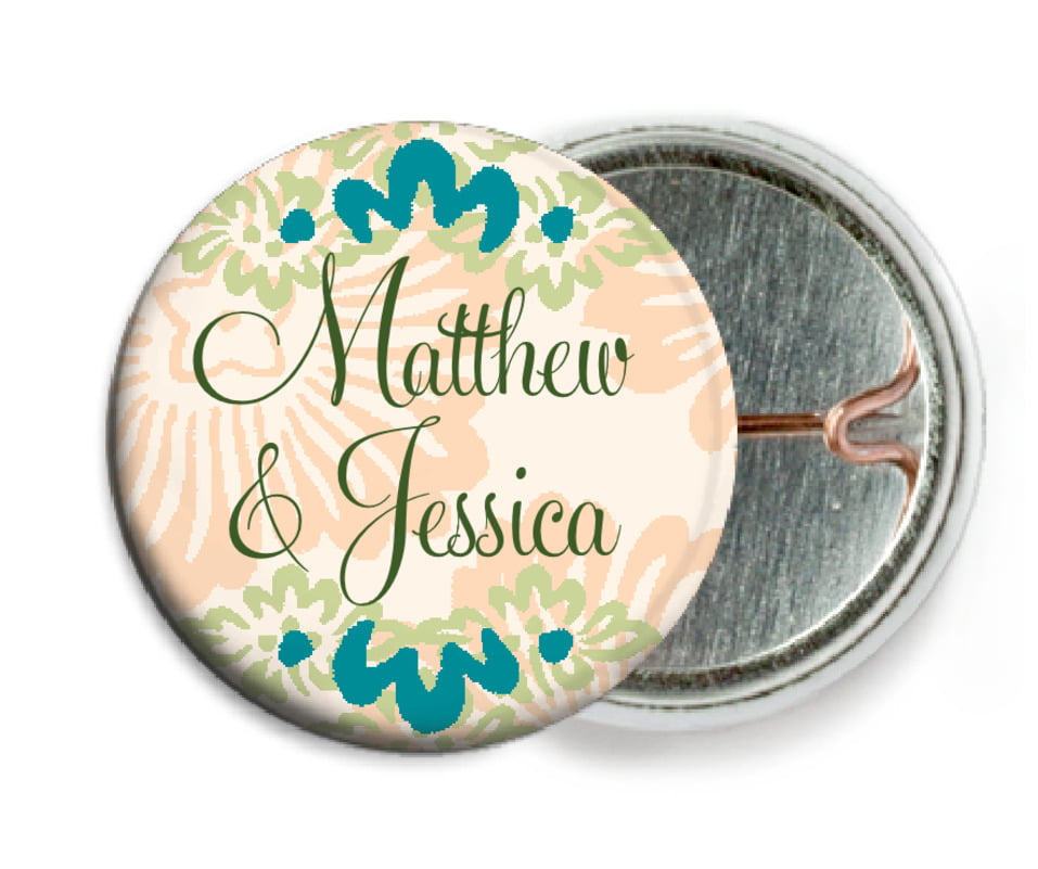 custom pin back buttons - turquoise & alpenglow - leilani (set of 6)