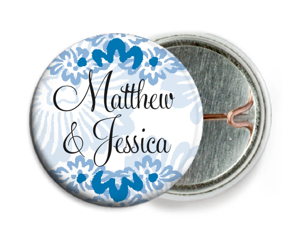 custom pin back buttons - blue - leilani (set of 6)