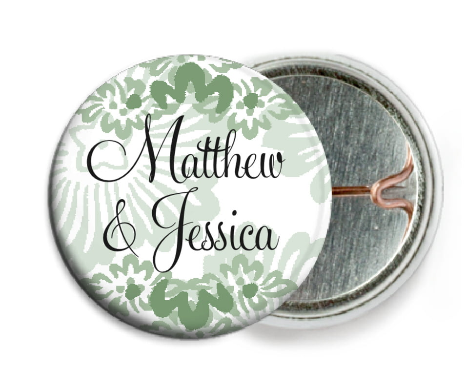 custom pin back buttons - sage - leilani (set of 6)