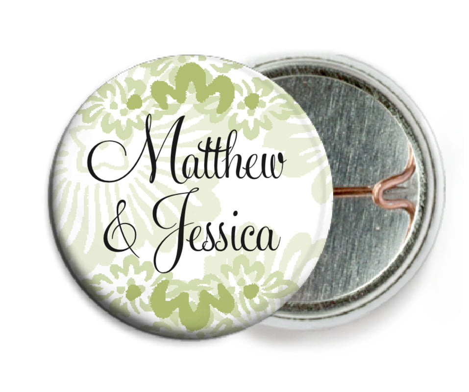 custom pin back buttons - green tea - leilani (set of 6)
