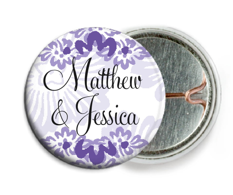 custom pin back buttons - lilac - leilani (set of 6)