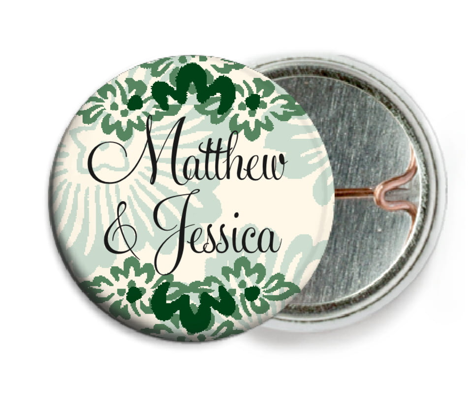 custom pin back buttons - deep green - leilani (set of 6)