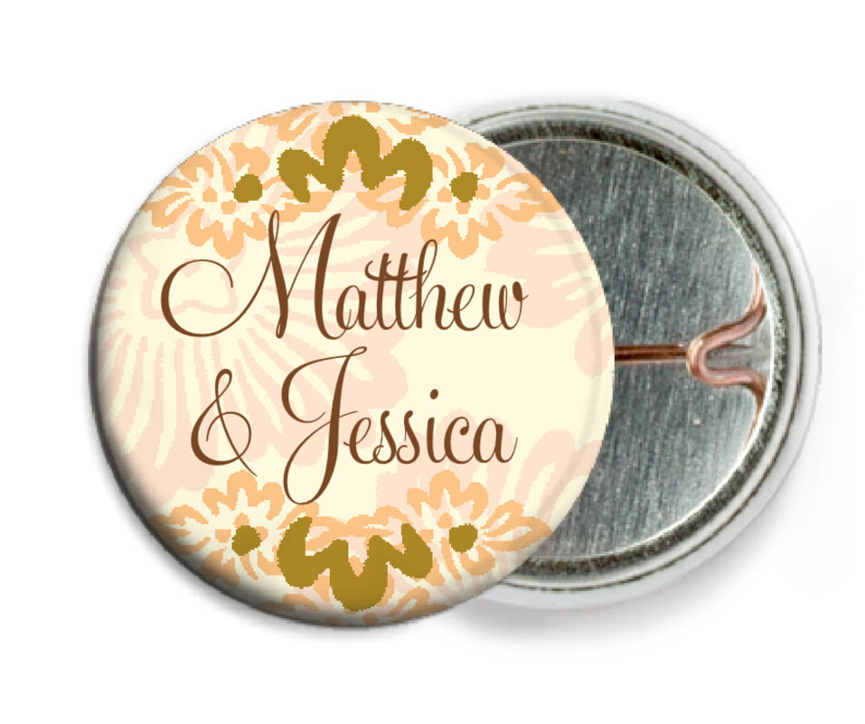 custom pin back buttons - antique gold & sand - leilani (set of 6)