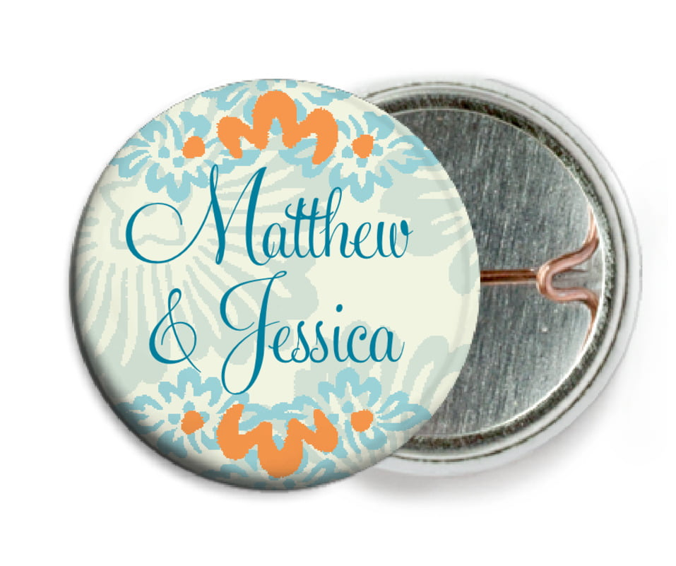 custom pin back buttons - melon & bay - leilani (set of 6)