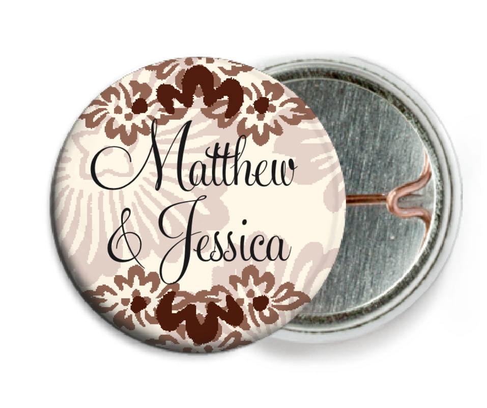 custom pin back buttons - chocolate - leilani (set of 6)