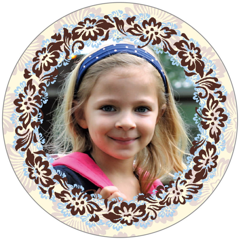 circle photo labels - powder blue & cocoa - leilani (set of 20)