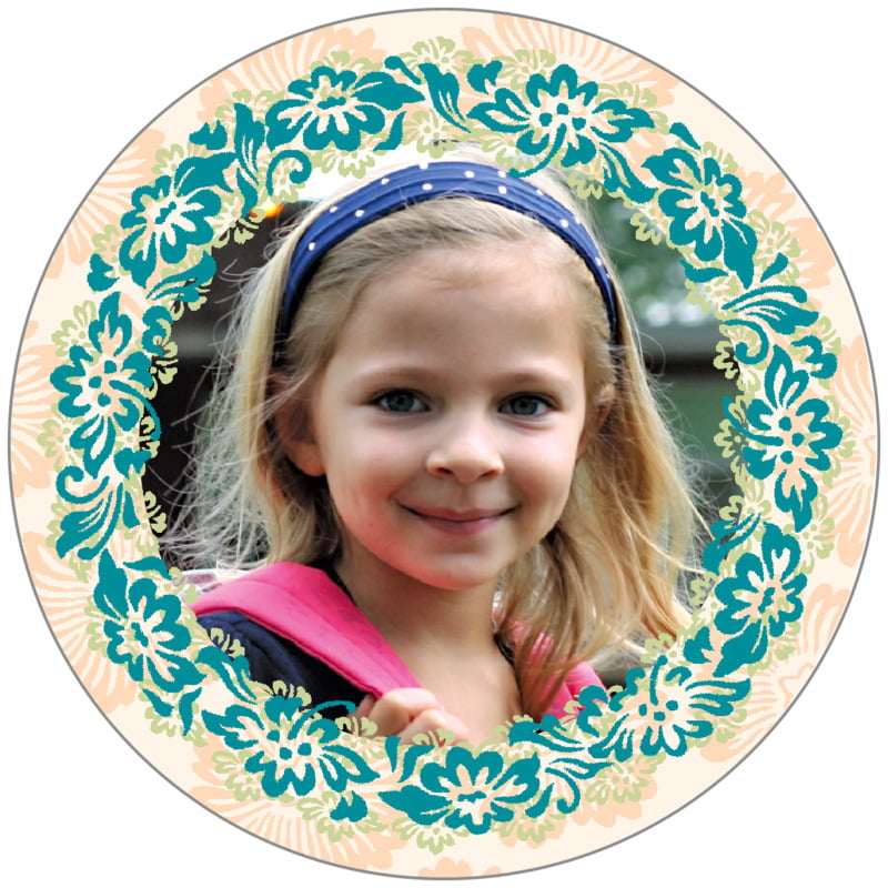 circle photo labels - turquoise & alpenglow - leilani (set of 20)