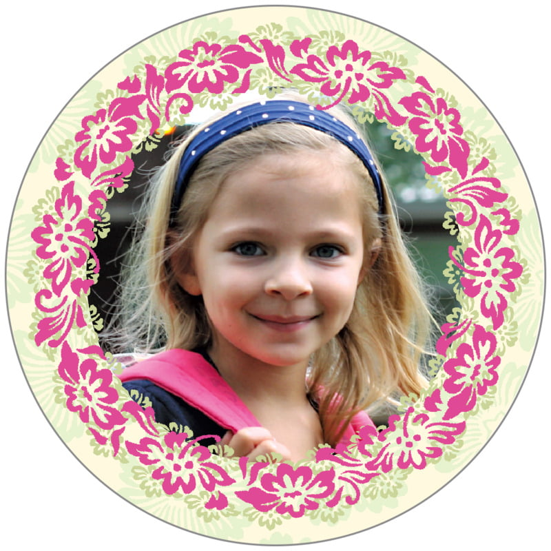 circle photo labels - pink & island green - leilani (set of 20)