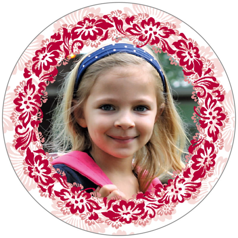circle photo labels - deep red - leilani (set of 20)