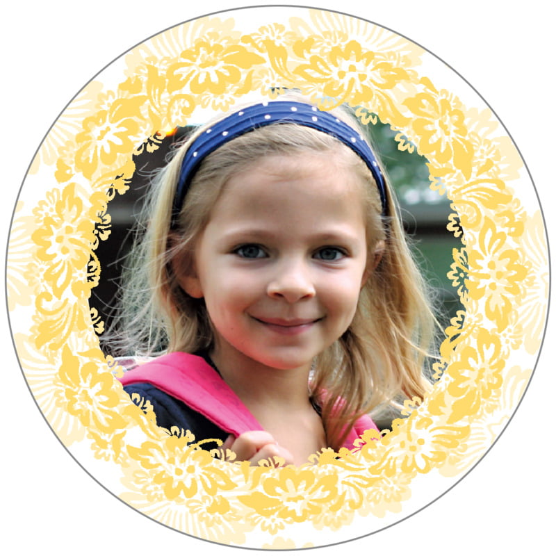 circle photo labels - sunburst - leilani (set of 20)