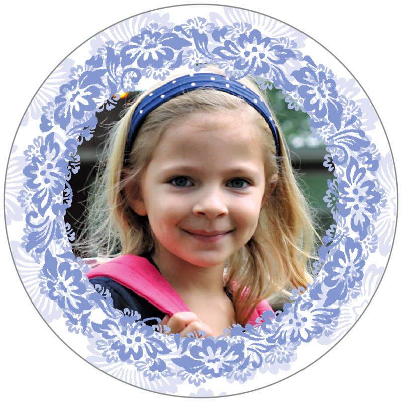circle photo labels - periwinkle - leilani (set of 20)