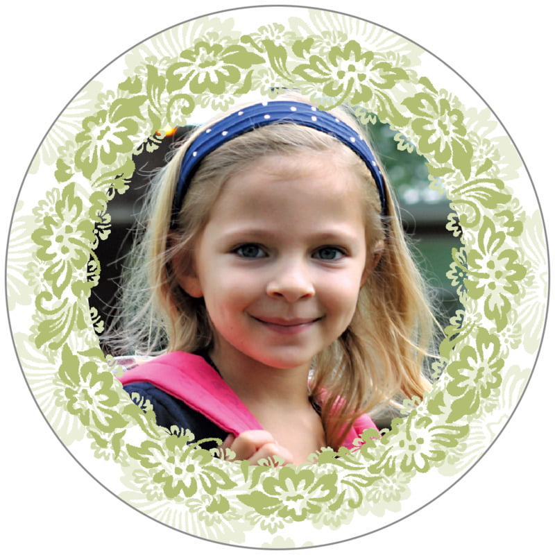 circle photo labels - green tea - leilani (set of 20)