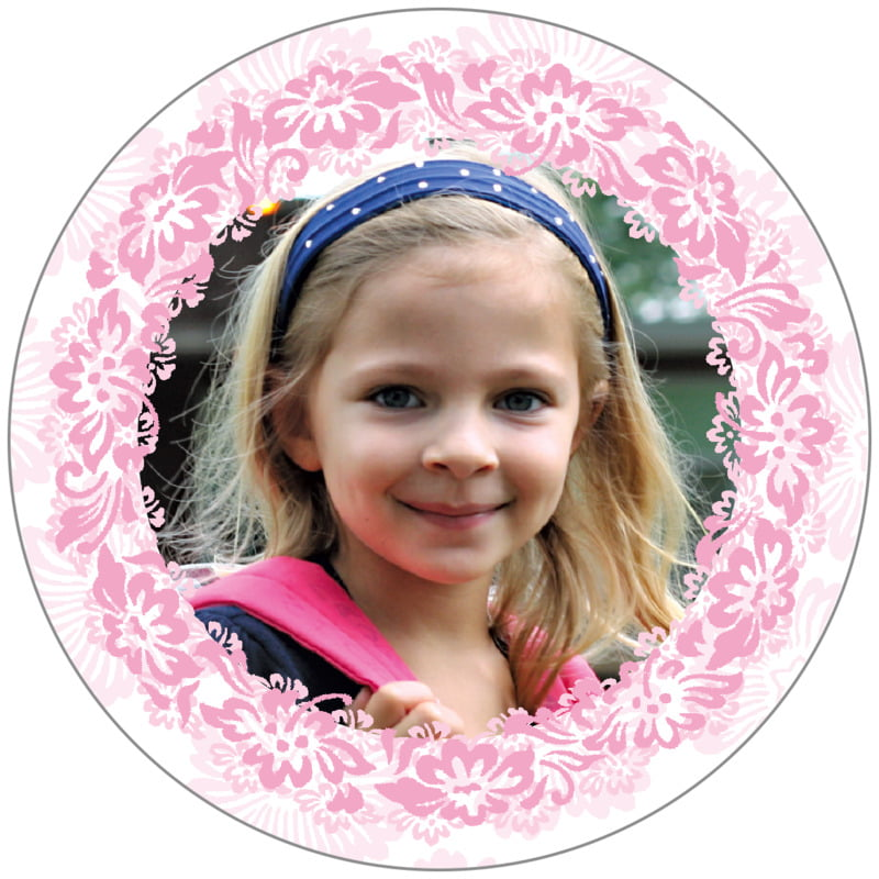 circle photo labels - pale pink - leilani (set of 20)