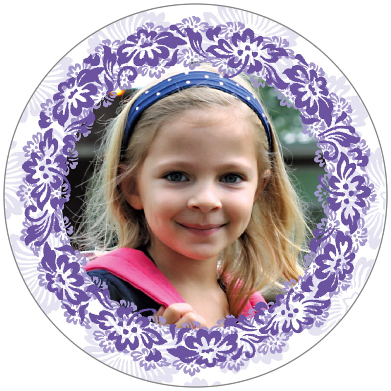 circle photo labels - lilac - leilani (set of 20)