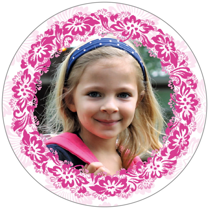 circle photo labels - bright pink - leilani (set of 20)