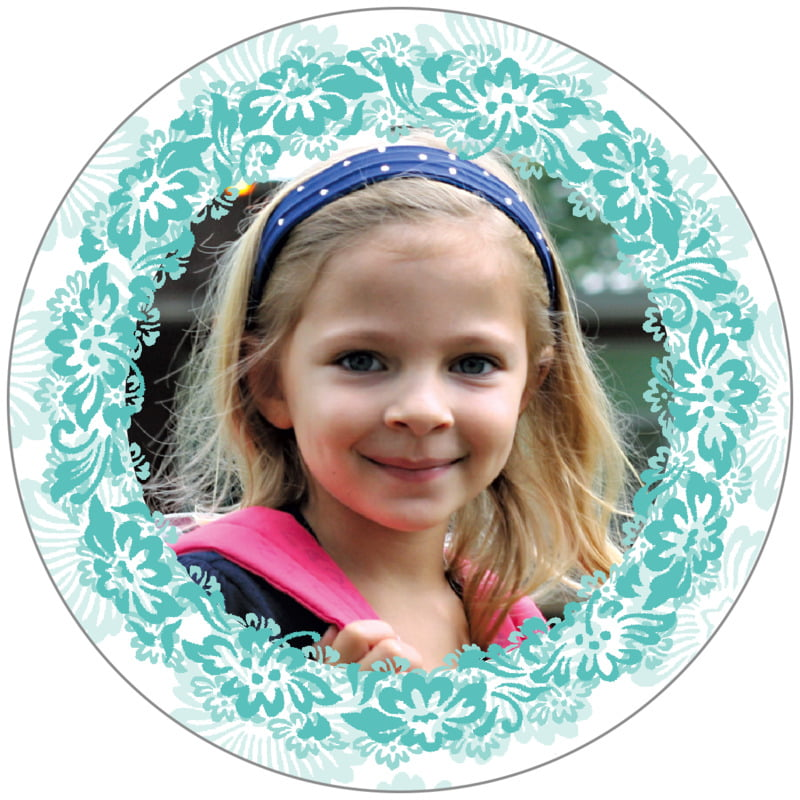 circle photo labels - aruba - leilani (set of 20)