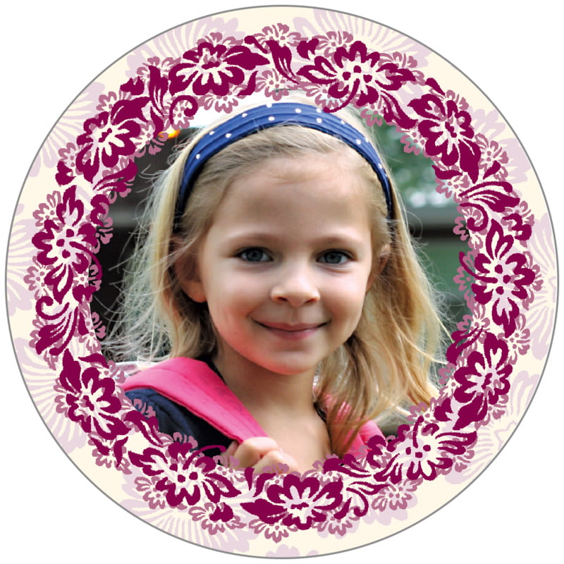 circle photo labels - burgundy - leilani (set of 20)